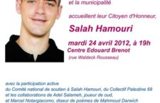 REPORT de l'accueil de Salah Hamouri à Grigny au MARDI 24 AVRIL 2012